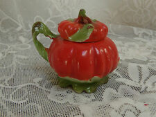 "antique Royal Bayreuth tomato condiment pot  blue mark 3 1/4"" height x 4"" wide"