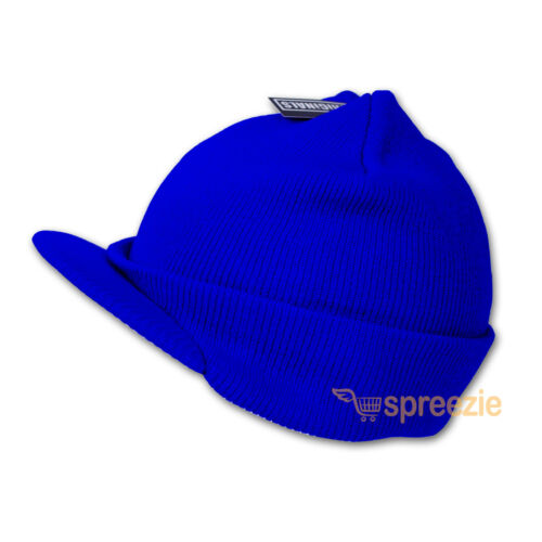 Plain Beanie Visor Knitted Skull Cap Hat Colors Wam Winter Ski Snow Headwear New