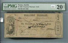 Obsolete $1 Austin, TX Treasury Warrant (#1123) PMG VF20 Net (See Photos). Caref