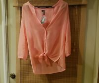 Maurices Sheer Textured Peach Button Down Mid Sleeve Shirt Size Xs
