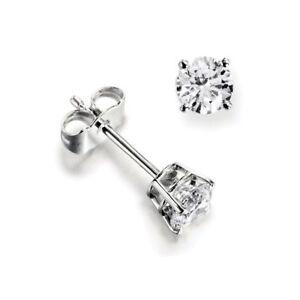 1-3ct-I1-HI-certificado-diamante-redondo-NATURAL-18K-Oro-Blanco-Mujer-Aretes