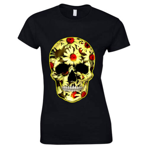 Fleur Crâne Jour des Morts Mexicain Candy Daisy Gothique Womans T Shirt #2
