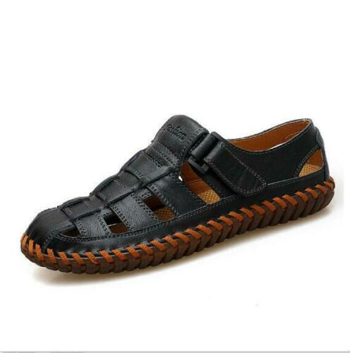 New Mens Hiking Baotou Fisherman Beach Shoes Cow Leather Sandals Casual Slippers