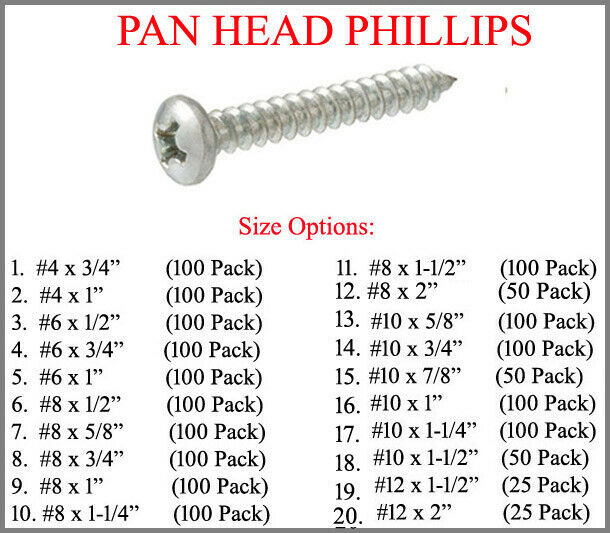 Box of 100 # 6 X 5//8 Stainless Steel Pan Head Phillips Sheet Metal Screws