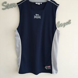 Mens-Lonsdale-Running-Top-Size-Large-Navy-Blue-Pale-Grey