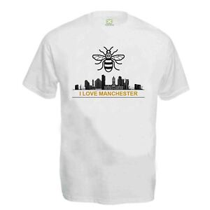 479674977b85 Details about Adults Mens I Love Manchester Manc And Proud T-Shirt MCR BEE  Tattoo Tee Top UK