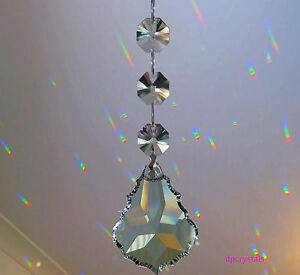 Suncatcher-Colgante-Cristal-Feng-Shui-Arco-Iris-Prisma-con-Perlas-de-Swarovski-octagons
