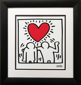 Keith-Haring-034-KH03-034-CUSTOM-FRAMED-Print-Art-POP-Heart-Love-People-Street