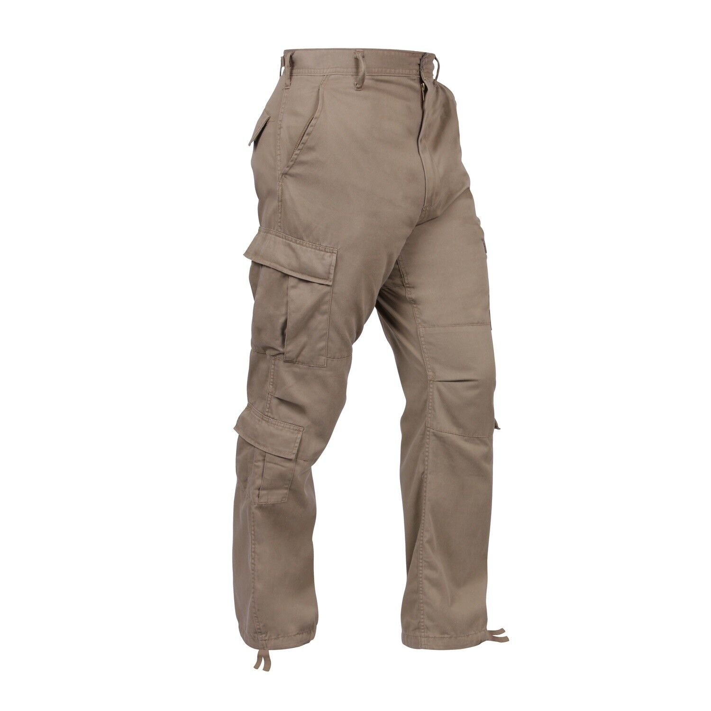Khaki VINTAGE PARATROOPER FATIGUES BDU Military Cargo Pants Security Work Casual