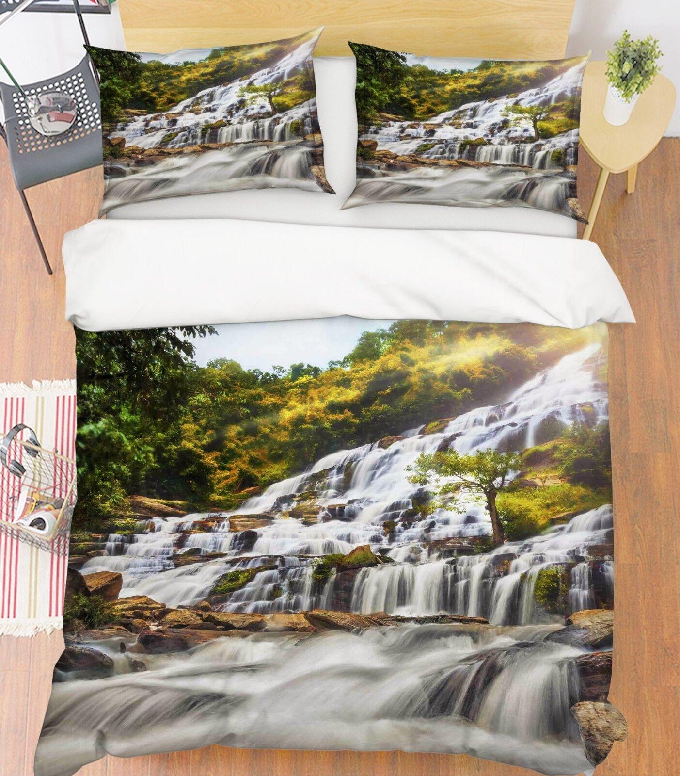 3D Steigung Fluss 3 Bett Kissenbezüge steppen Duvet Decken Set Single Königin DE