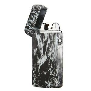 USB Electric Dual Arc Flameless Rechargeable Windproof Lighter Black Marble