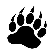 "GRIZZLY BEAR PAW V1 (5"" BLACK) Vinyl Decal Window Sticker"
