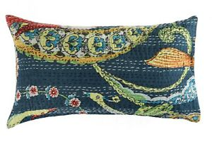 Oreiller-Indien-Coton-Oiseau-Floral-Kantha-Coussin-Housse-Broderie-Handmade