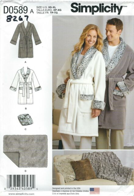 f4ffcf0876 Simplicity 8267 Misses Mens Robe Pillow Blanket Sewing Pattern Sz Xs ...