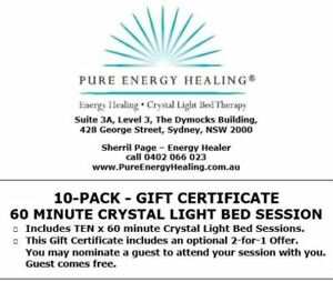 10-PACK-60-Minute-Crystal-Light-Bed-GIFT-CERTIFICATE-INCLUDES-BONUS-2-FOR-1