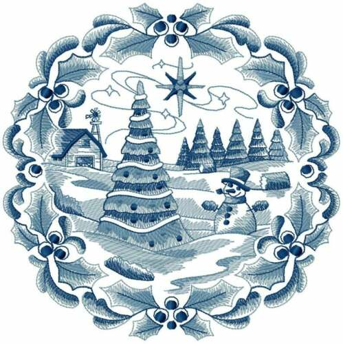 Beautiful Set Delft Blue Scenes of Christmas EMBROIDERED QUILT BLOCKS