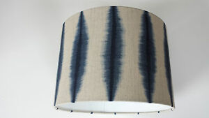 Lampshade-made-from-Harlequin-Shibori-Indigo-biancheria-fabric-handmade-Scion