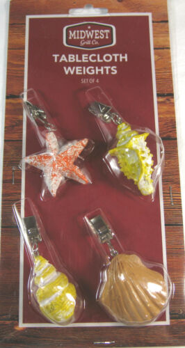 4 Pc.Set Assorted Sea Shell Tablecloth Weights Secure Tablecloth From Breezes