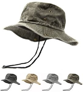 Mens Wide Brim Cotton Visor Boonie Bucket Hat Outdoor Summer Fishing ... f7fd4424c60