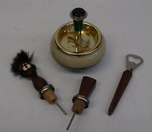 mid-century-50s-Kultiger-Karussell-Aschenbecher-2-Teak-Flaschenkorken-Offner