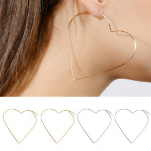 Image Is Loading Fashion Simple Large Heart Shaped Hoop Earrings Jewelry
