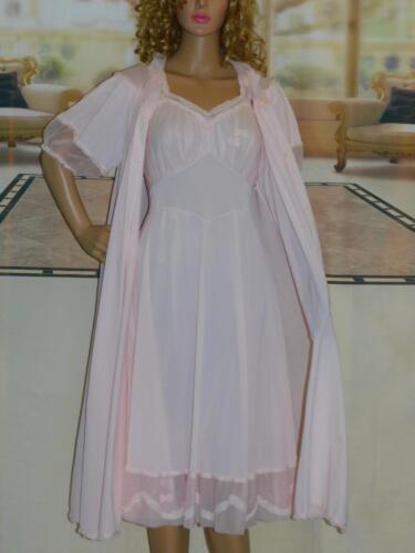 Med  Vntg 1950's Hollywood Glam Peignoir Set Robe
