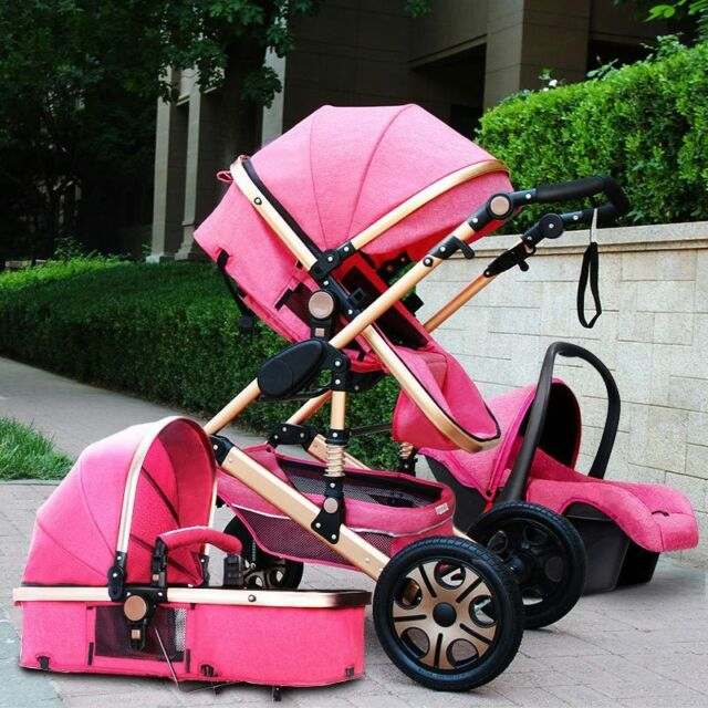 huge selection of 43202 730c0 Baby Stroller 3 in 1 High view Pram foldable travel pushchair bassinet&Car  Seat