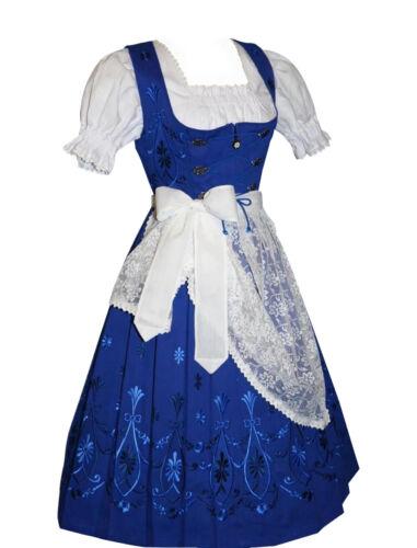 Sz 18 Blue DIRNDL TRACHTEN HAUS German Dress Waitress OKTOBERFEST 3pc EMBROIDERY