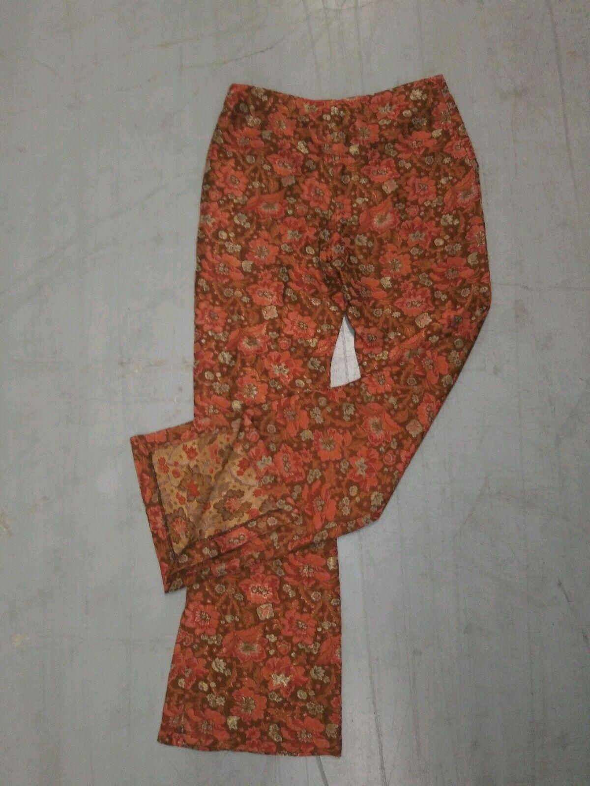 Oilily Femme Pantalon Style Rétro Floral Métallique Imprimé Taille 38
