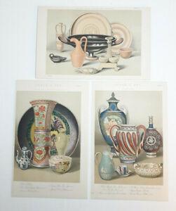 Original 1880 Lithographs. CERAMIC ART. Plates 1 TO 3. Beautiful Condition.