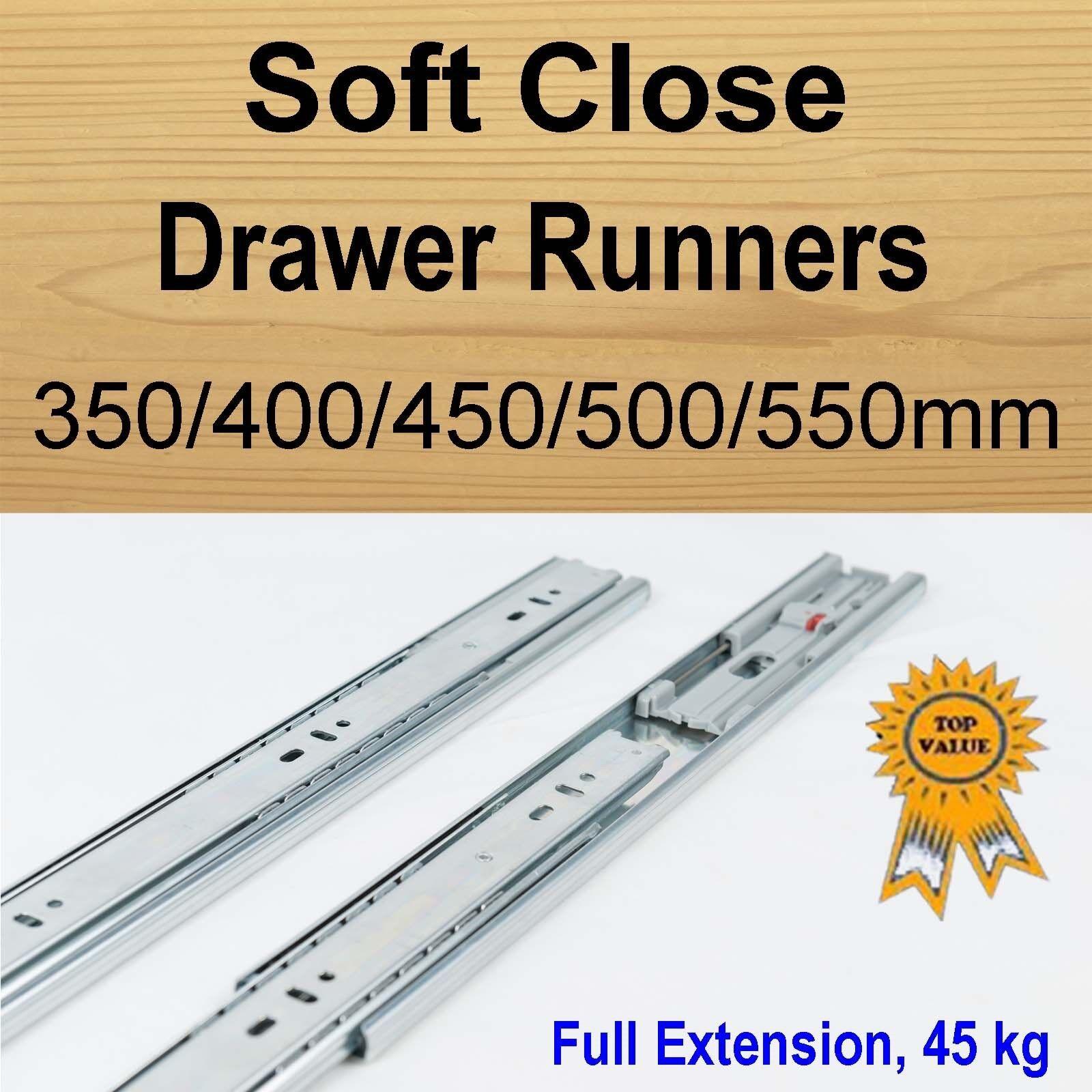 Soft Close Cabinet Cupboard Kitchen Vanity Drawer Runners  Slides