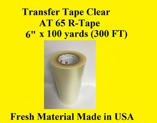 """Transfer Tape Clear 2 Rolls 6/"""" x 300 ft  Application Vinyl Signs R TAPE"""