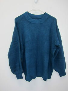 American-Eagle-Outfitters-Women-039-s-Crew-Neck-Fuzzy-Sweater-Small-Teal-NWT