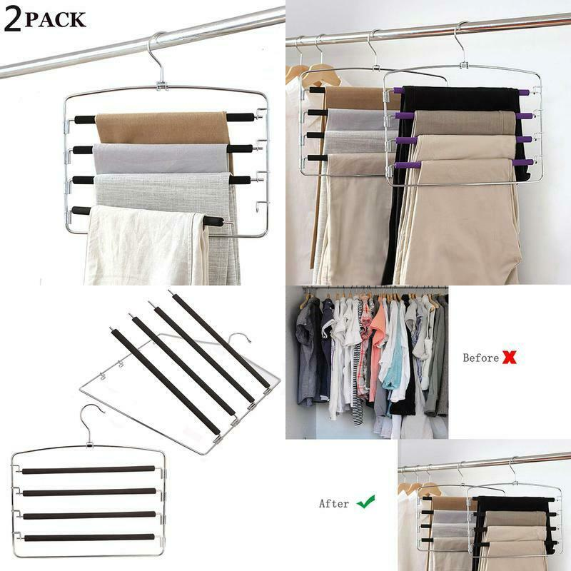 Clothes Pants Hangers 2Pack - Multi Layers Metal Pant S