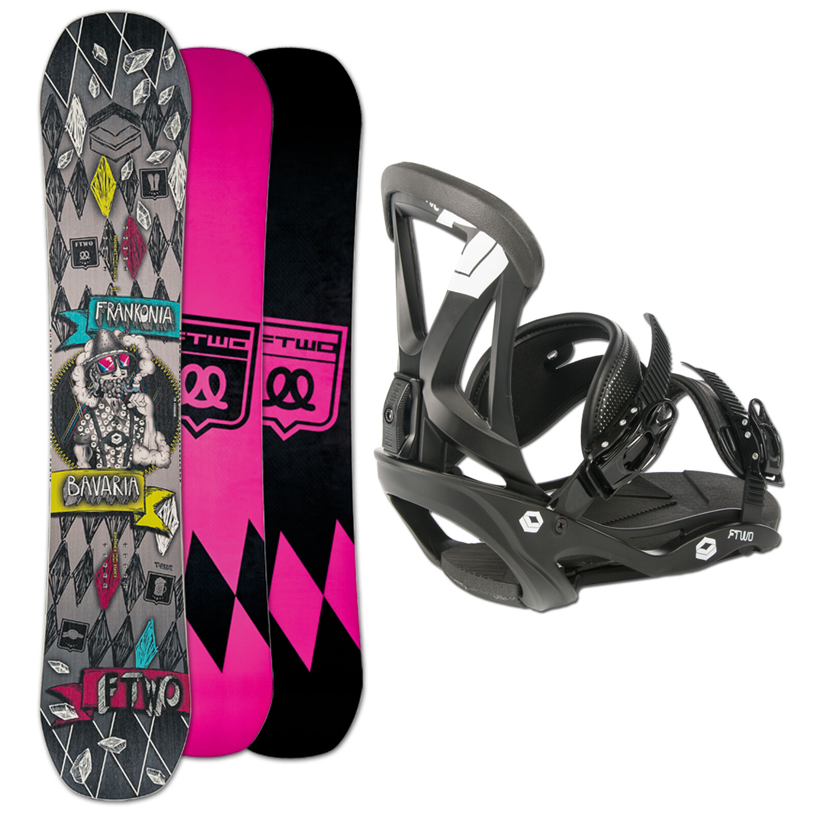 SNOWBOARD SET  FTWO T-RIDE MAN  156 CM WIDE CAMBER + FTWO SONIC BINDUNG L