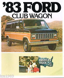 1983 Ford Club Wagon Brochure W / Color Chart : Xl, Xlt ,e-150,250,350,capitaine Facile Et Simple à Manipuler