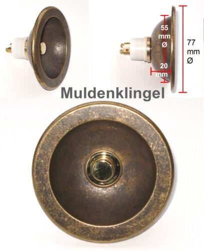 Messing-Guss-Muldenklingel-77 mm Ø-Türklingel-Klingelplatte-Klingel-Klingelknopf