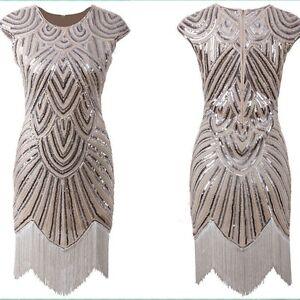 Image Is Loading Women 039 S Fler Dresses 1920s Beaded Fringed