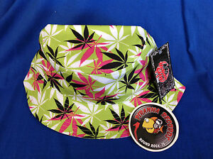 Black-White-Pink-Weed-Leaf-Printed-Green-Full-Brim-Bucket-Hat-ONE-SIZE-Piranha