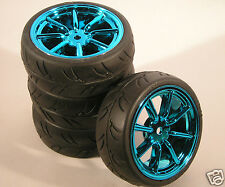 DYNH1522 RC Car Wheels & Tyres 1:10 12mm Hex Blue Chrome 8 Spoke Tamiya HPI BSD