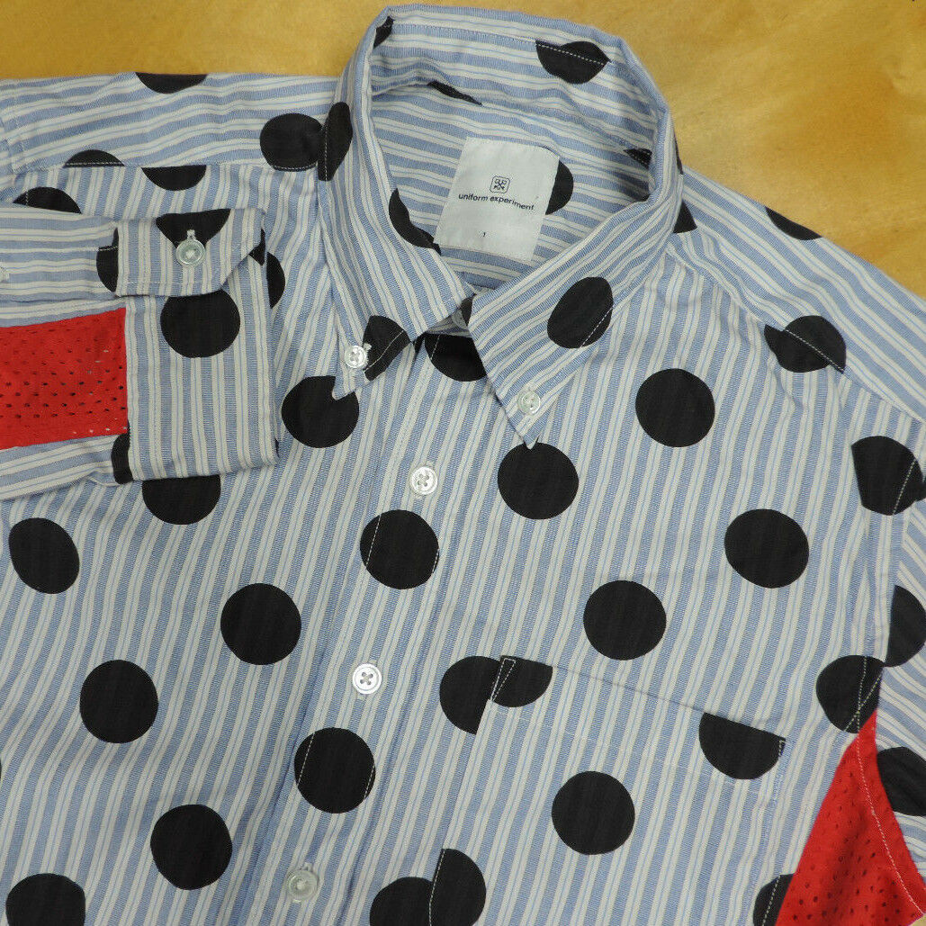 UNIFORM EXPERIMENTxSOPHNET Striped w Polka Dots & Mesh Panel Shirt 1 S Japan EUC