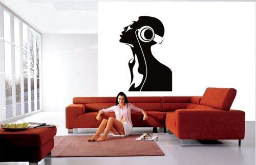 Casque Wall Art Stickers Musique inspirante décoratif Vinyl stiker decal