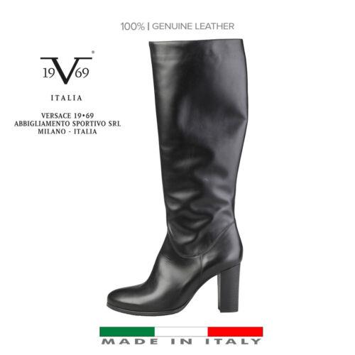 Italia V1969 cuir Bottes noir Designer en p0zRnxw5q