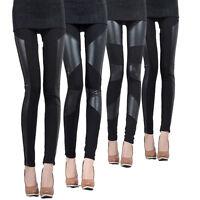 Ladies Leather Look Panel Leggings Jeggings Womens Stretch Trousers Black