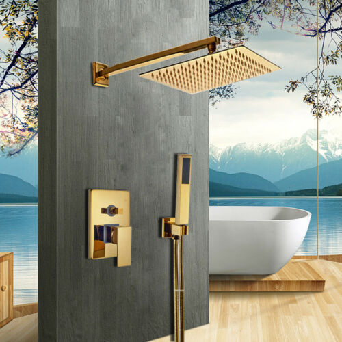 "Control Valve Set Wall Mounted Hand Spray Bathroom 8/"" Golden Shower Head"