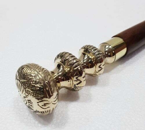 Antique Pillar Design Head Handle Victorian Wood Walking Stick Vintage Cane gift