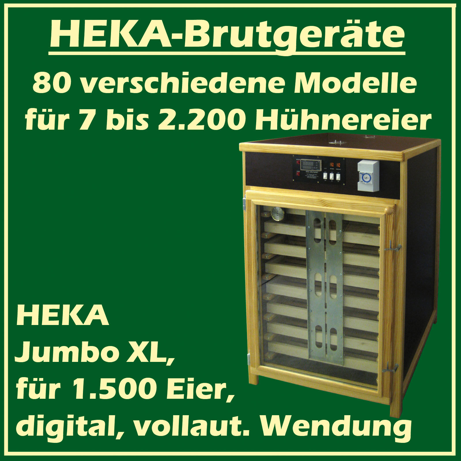 Heka Jumbo XL-Fully-Automatic Egg-Incubator for 1500 Eggs -  Made in Germany