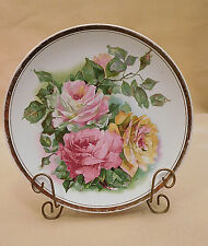 Collector Plate: Old Antique Pink Yellow ROSES Flowers Empire China #4334