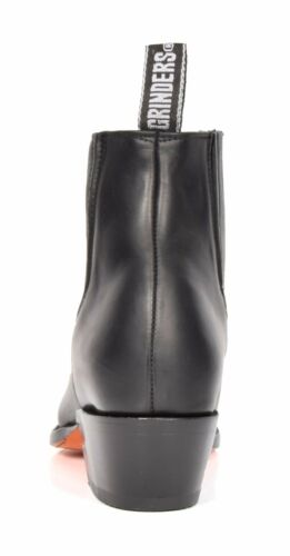 Mens Black Leather Ankle Boots Slip On Pointed Toe Casual Design Grinders Boots