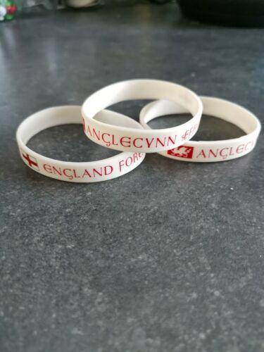 "2 x England Forever wristband /""Anglecynn Aefre/"" WHITE"